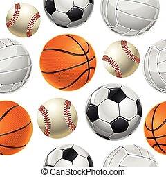 Sport Balls Set Seamless pattern.