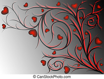 Red pattern with hearts - Red and black vegetative pattern...