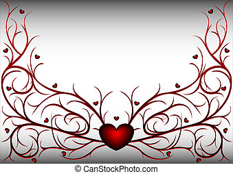 Red pattern with hearts 2 - Red and black vegetative pattern...