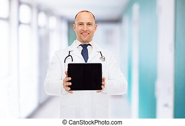 smiling male doctor with tablet pc and stethoscope -...