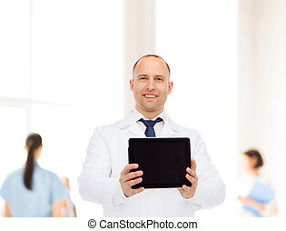 smiling male doctor with tablet pc - medicine, advertisement...