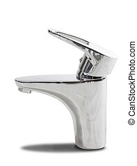 Chromed tap - Modern chromed water tap. Isolated on white.