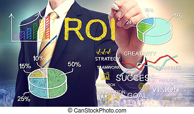 Businessman drawing ROI return on investment with graphs