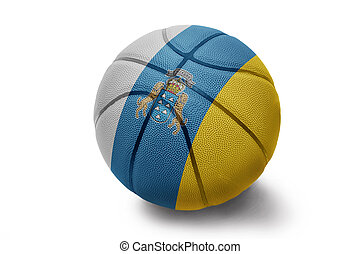 Basketball ball with the flag of Canary Islands on a white...