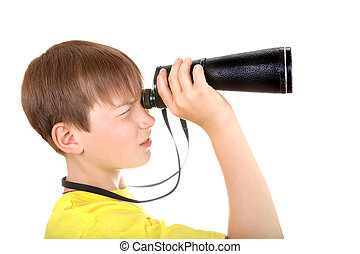 Kid with Monocle Isolated on the White Background