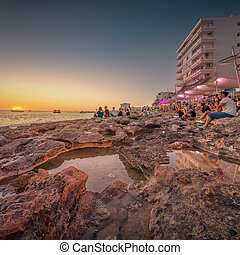 Ibiza island sunset view