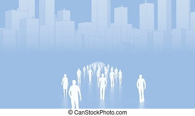 Walking people in row - Business concept