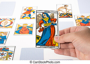 Draw tarot : Temperance - Draw tarot on white background :...