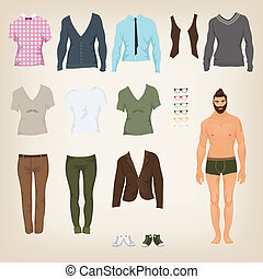 Vector male hipster dress up paper doll with an assortment of cl