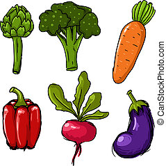 Set of six cute hand drawn vector vegetables