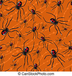 Vector seamless Halloween pattern with poisonous spiders