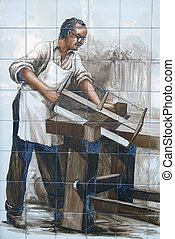 Tile old carpenter - Ceramic tile with a picture of former...