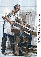 azulejo, viejo, carpintero
