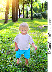 Baby Boy outdoor - Baby Boy walk at the Summer Park