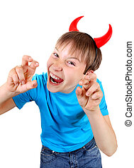 Little Devil - Sly Kid with Devil Horns on the Head Isolated...