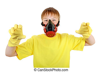Kid in Gas Mask and Rubber Gloves Isolated on the White...