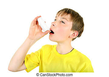Kid with Inhaler - Kid using Inhaler Isolated on the White...