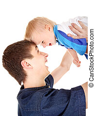 Young Father and Baby - Happy Young Father and Baby Isolated...