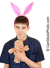 Teenager with Bunny Ears - Infantile Teenager with Bunny...