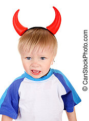 Baby with Devil Horns - Naughty Baby Boy with Devil Horns on...