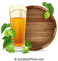 Glass of beer and hops - Glass of beer, barrel and hops...