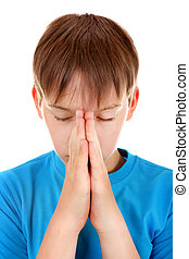 Kid praying Isolated on the White Background