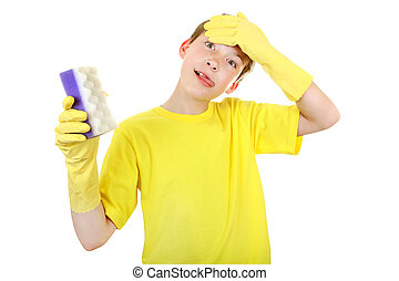 Kid with Bath Sponge - Annoyed Kid with Bath Sponge and...
