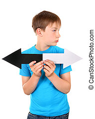 Kid with Two Arrows - Kid holds Black and White Arrows...