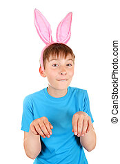 Kid with Bunny Ears Isolated on the White Background