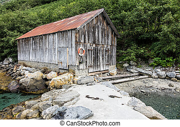Boathouse on Storfjord in Norway.