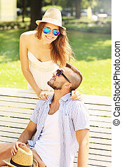 Young couple meeting in the park - A picture of a young...