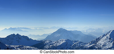 Mountains top panorama - High angle panoramic view of the...