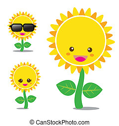 Sunflower 001 - Vector of smile sunflower, set happy flower