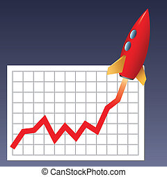 Business chart skyrocketing - Business chart with a rocket...