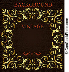 Vintage background with golden  frame