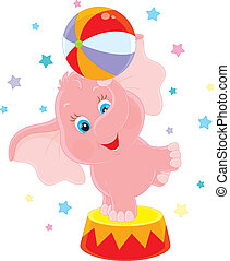 Little circus elephant - Pink baby elephant juggling with a...