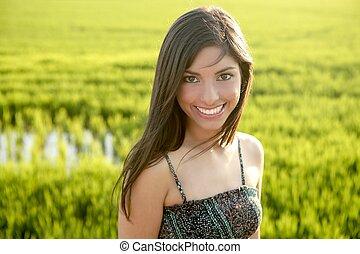 hermoso, morena, indio, mujer, verde, arroz, campos