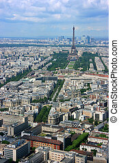 Paris aerial and Eiffel tower - Paris aerial view from...