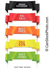 Colorful Origami Style Banner - Colorful Origami Style...