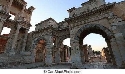 ruins Celsius Library in the ancient city of Ephesus