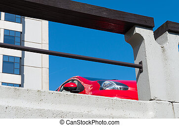 parking deck - red car on a parking deck