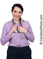 Doctor - Female doctor with a stethoscope explaining a...