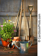 Garden tools and a pot of summer flowers in shed - Garden...