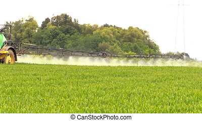 agricultural protect work - Follow tractor sprinkler spray...
