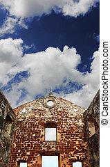 St, Paul\'s, church, ruins, under, blue, sky