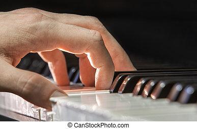 mano, piano, jugador