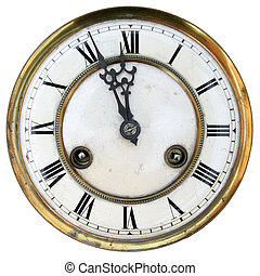 Old clock face isolated, roman numerals, about twelve