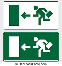 Emergency exit sign with business man