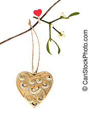 Romantic Christmas - Christmas gold heart shaped decoration...