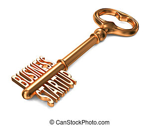 Business Startup - Golden Key on White Background Business...